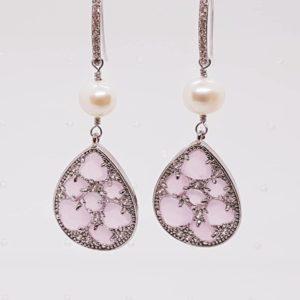 orecchini con perla e cristalli swarovski Orecchini con perle di fiume e con cristalli Swarovski 1 pz