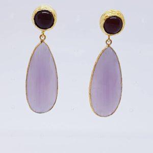 orecchino con quarzi neri e lilla Orecchini con quarzi neri e lilla 1pz 300x300