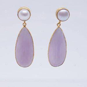 orecchino con quarzi e perle Orecchini con quarzi e perle di fiume 1pz
