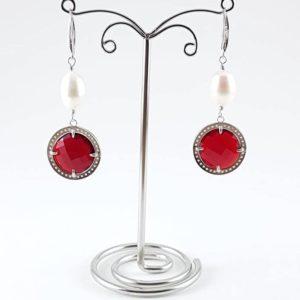 orecchino perla naturale e quarzo rosso  Orecchini con Perle di Fiume cod.OR0011 2 300x300