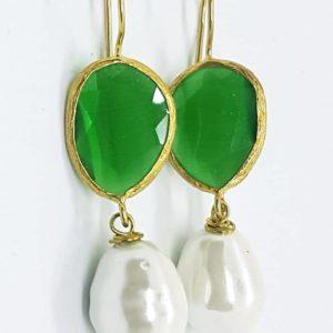orecchini con quarzo verde Orecchini con perla di Majorca e con quarzo sfaccettato 78770554 733865613690095 6007868410480820224 n 300x300