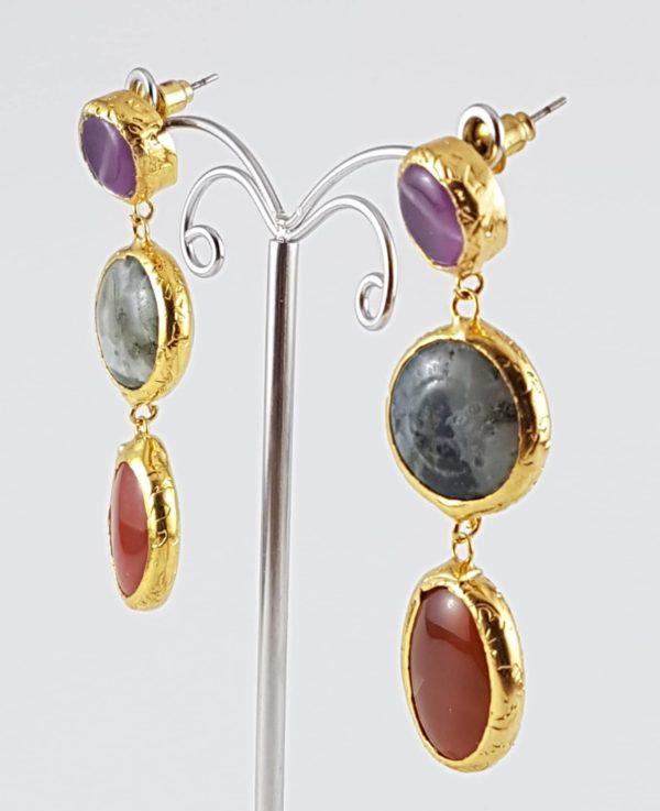 orecchini pendenti pietra viola