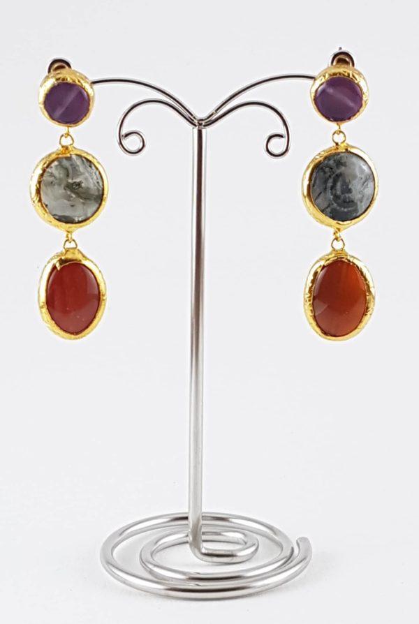 orecchini pendenti pietra viola naturale