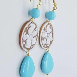 Orecchini con cammeo e perla di pasta di turchese orecchini con cammeo Orecchini con cammeo e perla di pasta di turchese 0174 300x300