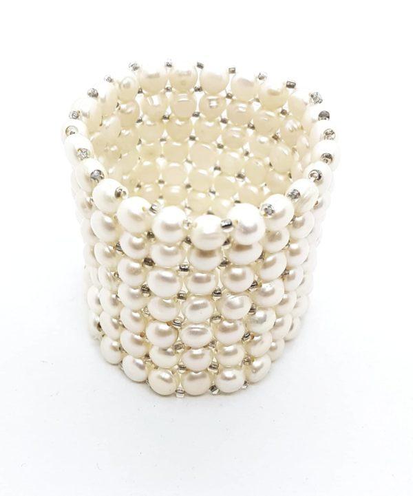 Bracciale con perle coltivate a nido d'ape