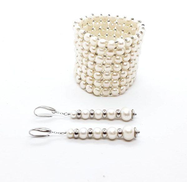 parure bracciale e orecchini con perle coltivate in gradazione