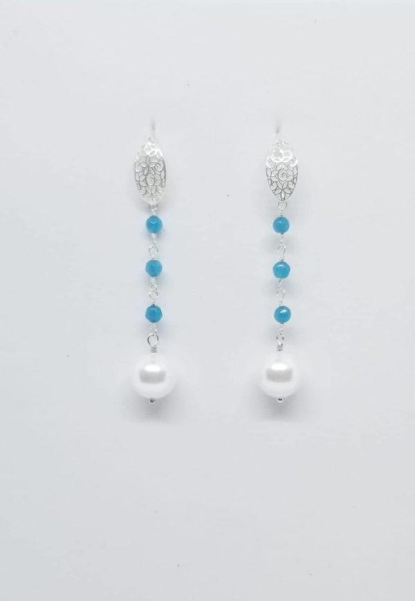Orecchini in argento con perle coltivate e con pietre di angelite