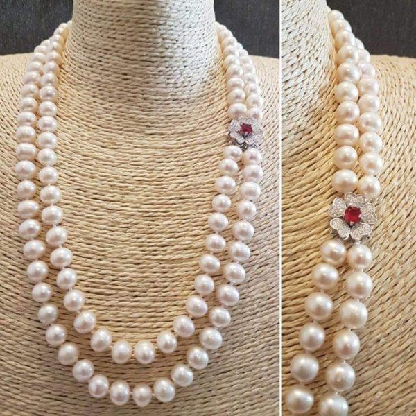 Collana con perle naturali a due fili e radice di rubino