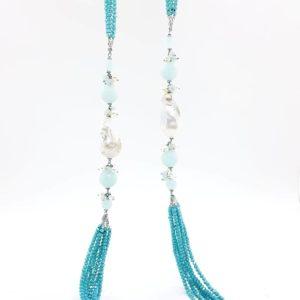 Collana con perle scaramazze e 6 fili di cristallo turchese 67977562 572453066833999 5645390165884010496 n 300x300