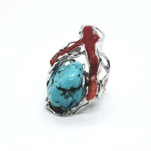 anello regolabile in argento con pietra di amazzonite e ramo di corallo Anello regolabile in argento con pietra di Turchese dell'Iran e ramo di Corallo 89395419 1289558058099038 1606067273326395392 n 300x300