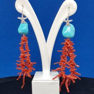 orecchini pietra turchese e corallo