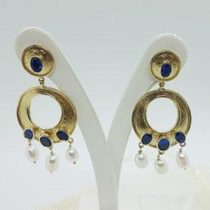 orecchini moschea blu con radici di zaffiro e perle di fiume