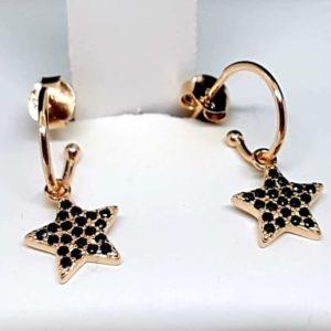 Orecchini in argento 925 ramato con stella zirconata nera