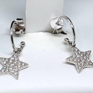 Orecchini in argento 925 rodiato con stella zirconata