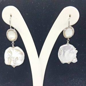 orecchini con quarzo e perle