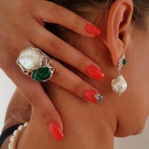 anello capo verde in argento