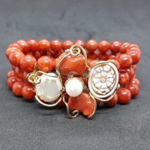 bracciale isola del giglio con corallo e perle