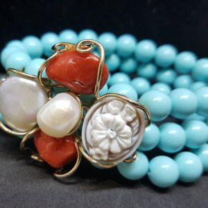 bracciale isola d'elba con corallo e perle