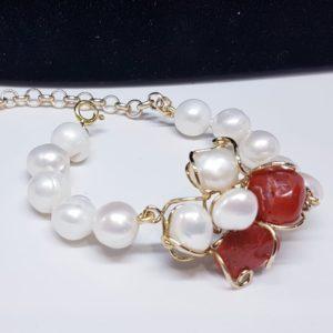 bracciale Ginevra con corallo e perle