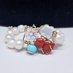 bracciale Beatrice con corallo e perle