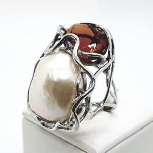 anello rena majori argento quarzo e perla scaramazza