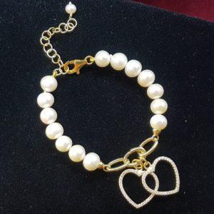 bracciale greta con perle coltivate e argento bagnato oro