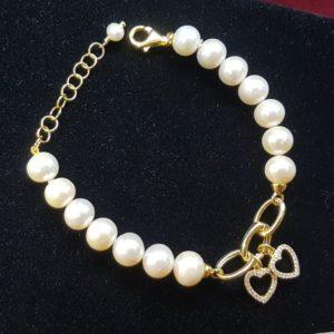 bracciale elena con perle coltivate e argento bagnato oro