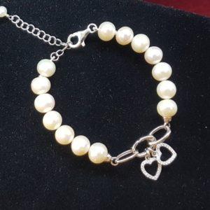 bracciale camilla con perle coltivate e argento