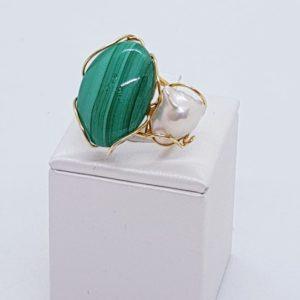 anello arianna in argento e malachite