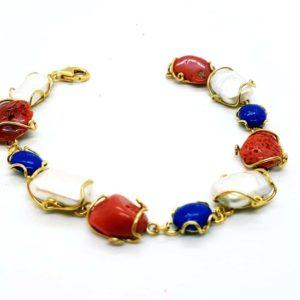 bracciale in argento con perle e lapislazzuli e corallo