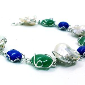 bracciale emma in argento con perle giada e lapislazzuli