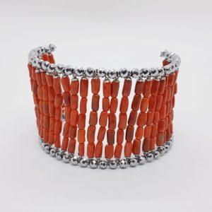 bracciale argento con corallo ed ematite