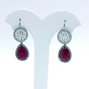 orecchini cecilia con filigrana in argento e quarzo rosso