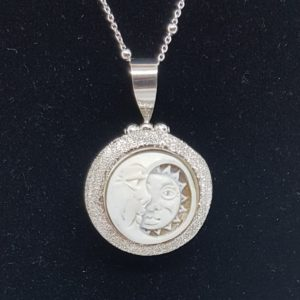 ciondolo luna e sole in argento con cammeo