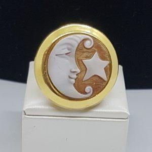orecchini anello luna stella con cammeo in argento bagnato oro