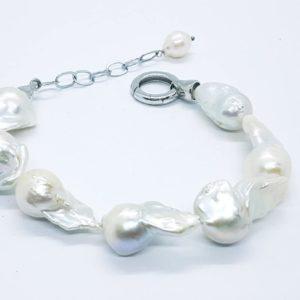 bracciale lidia in argento con perle scaramazze