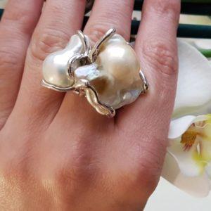 Anello Roccella Ionica in argento con perla scaramazza