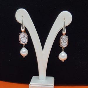 orecchini in argento con perla e cammeo