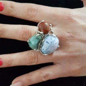 anello calamosche con pietre naturali in argento regolabile